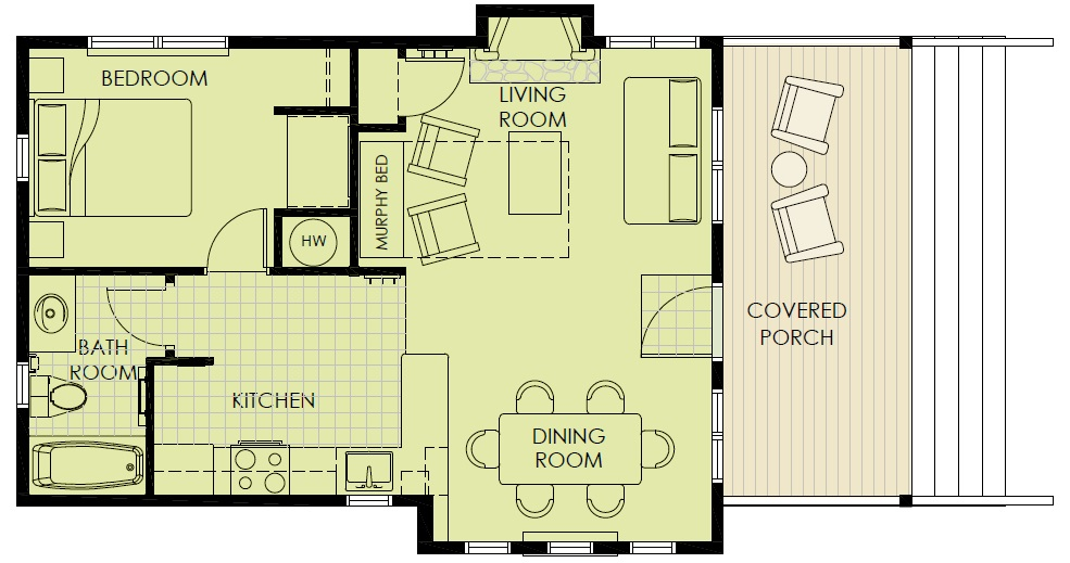 Patterson Lake 1-bedroom Cabin Layout