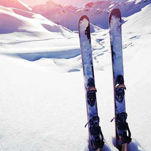 Alpine Skis in snow