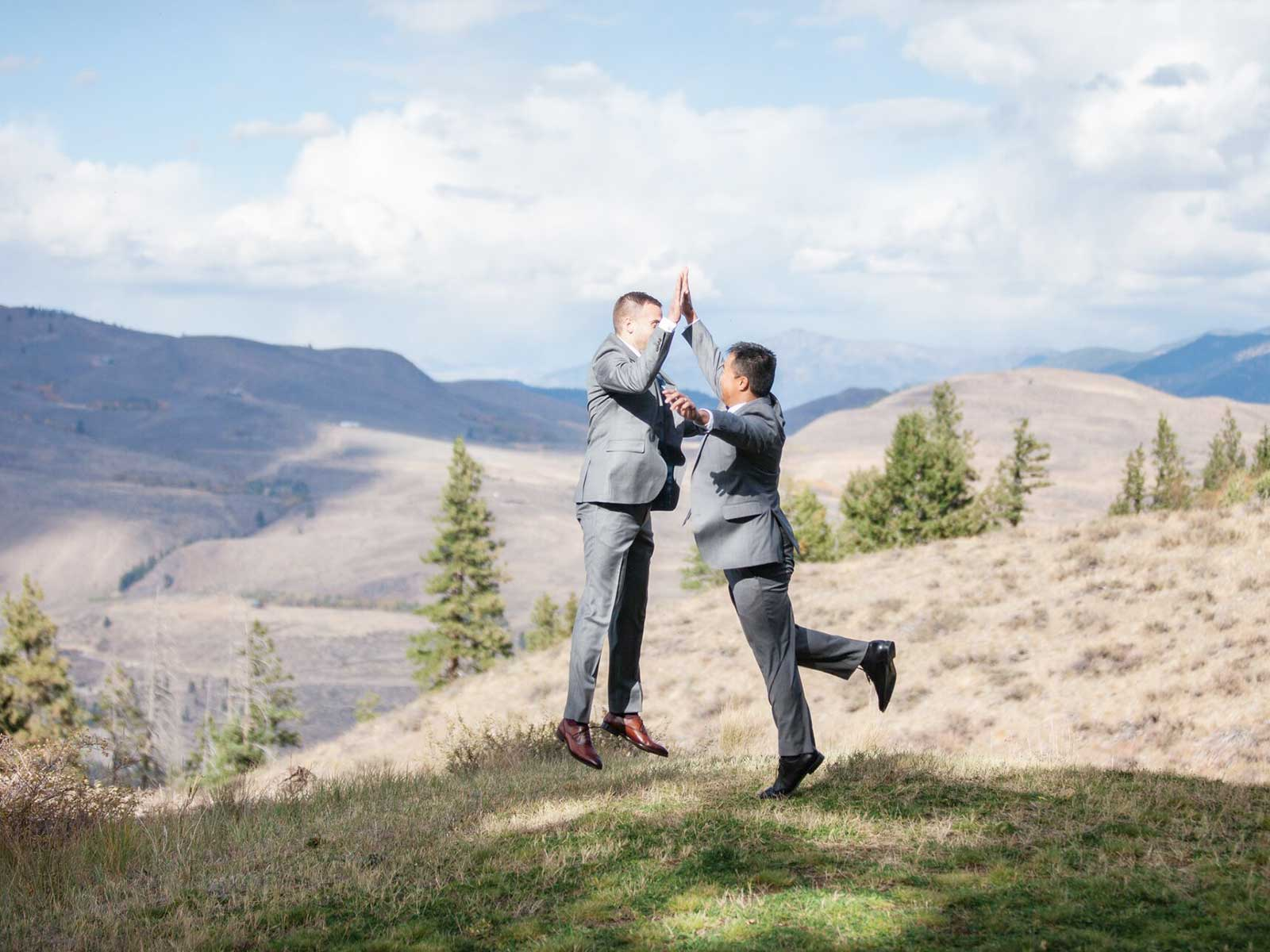 groom and best man high five
