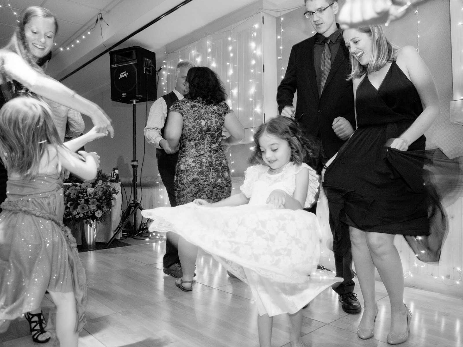 children dancing at wedding