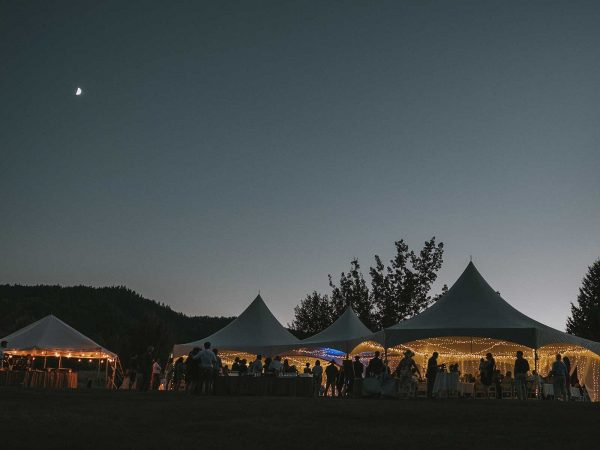 wedding tents at twilight