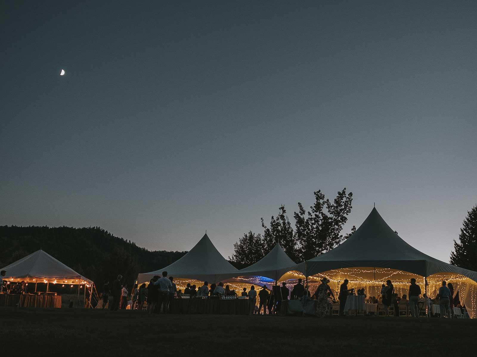 wedding tents at twilight