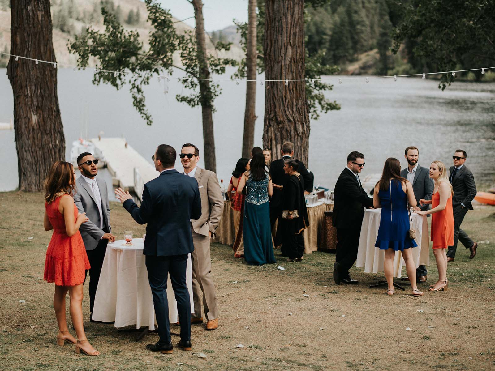wedding reception by the lake