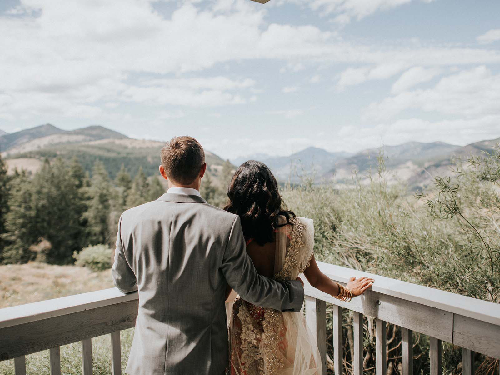 bride and groom overlook
