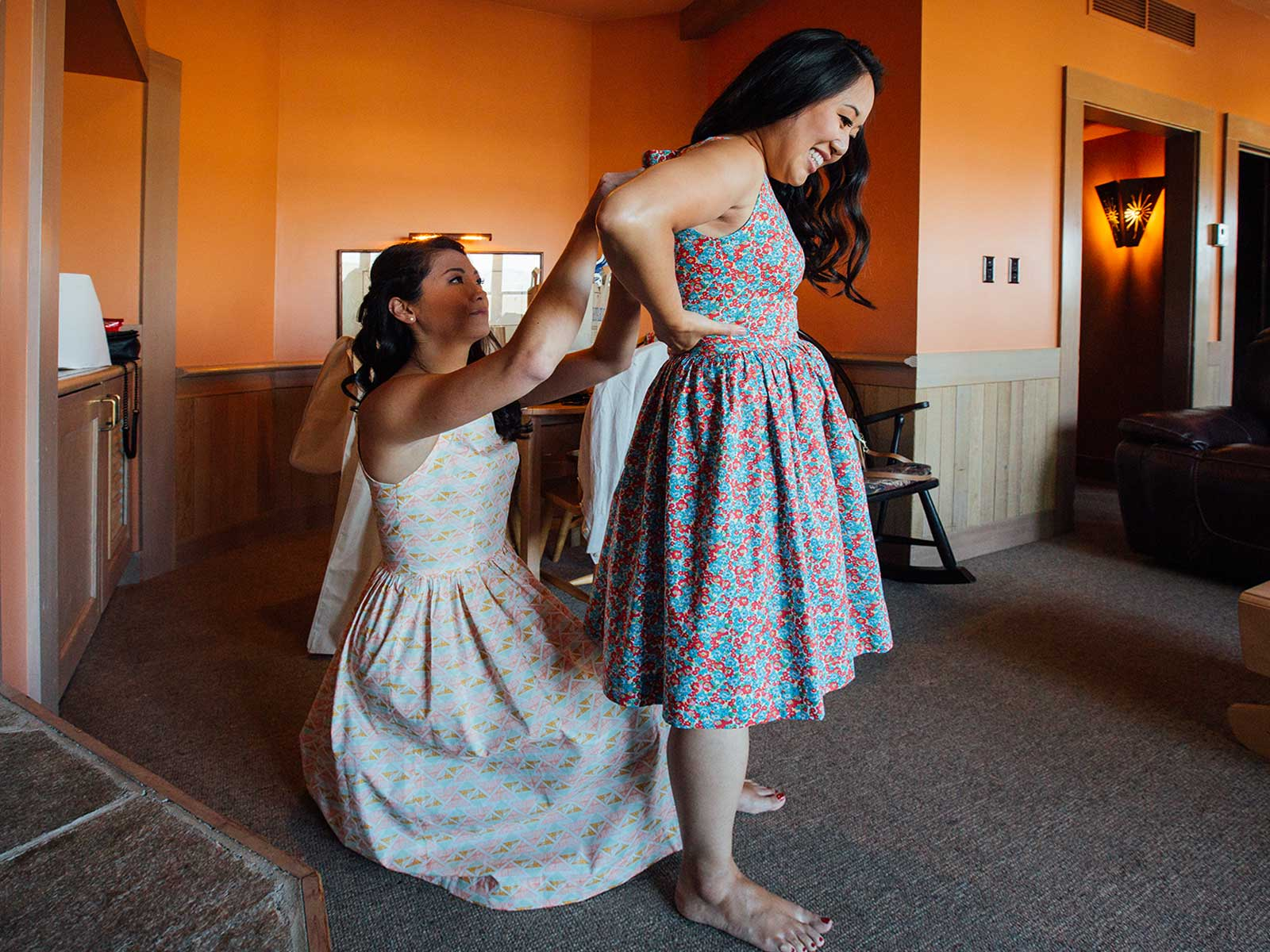 Bridesmaids dressing