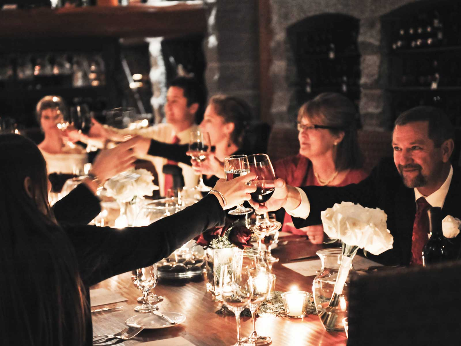 Wedding reception in the wine cellar