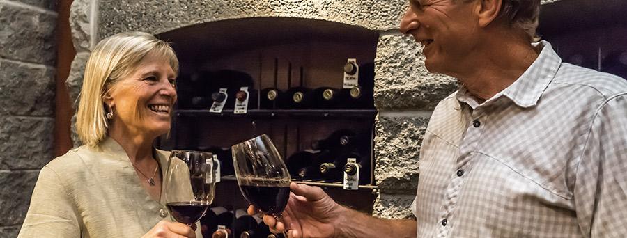 geof diane toasting wine cellar