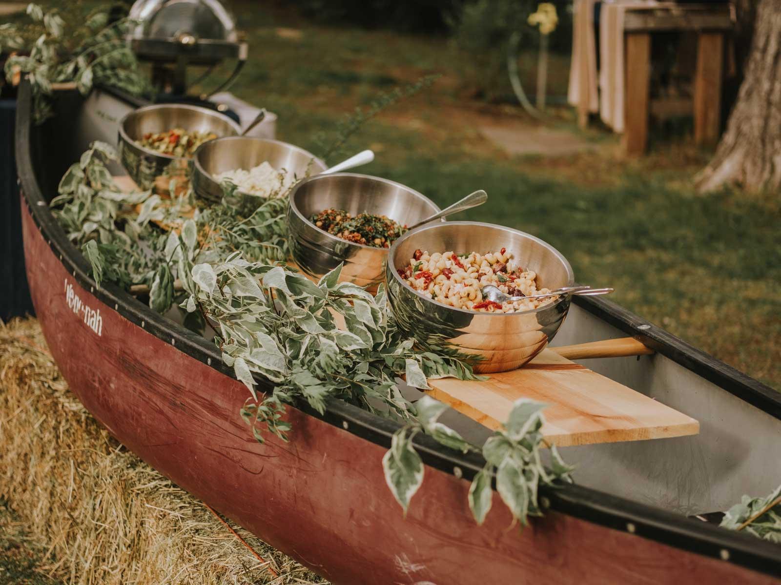 dinner in a canoe
