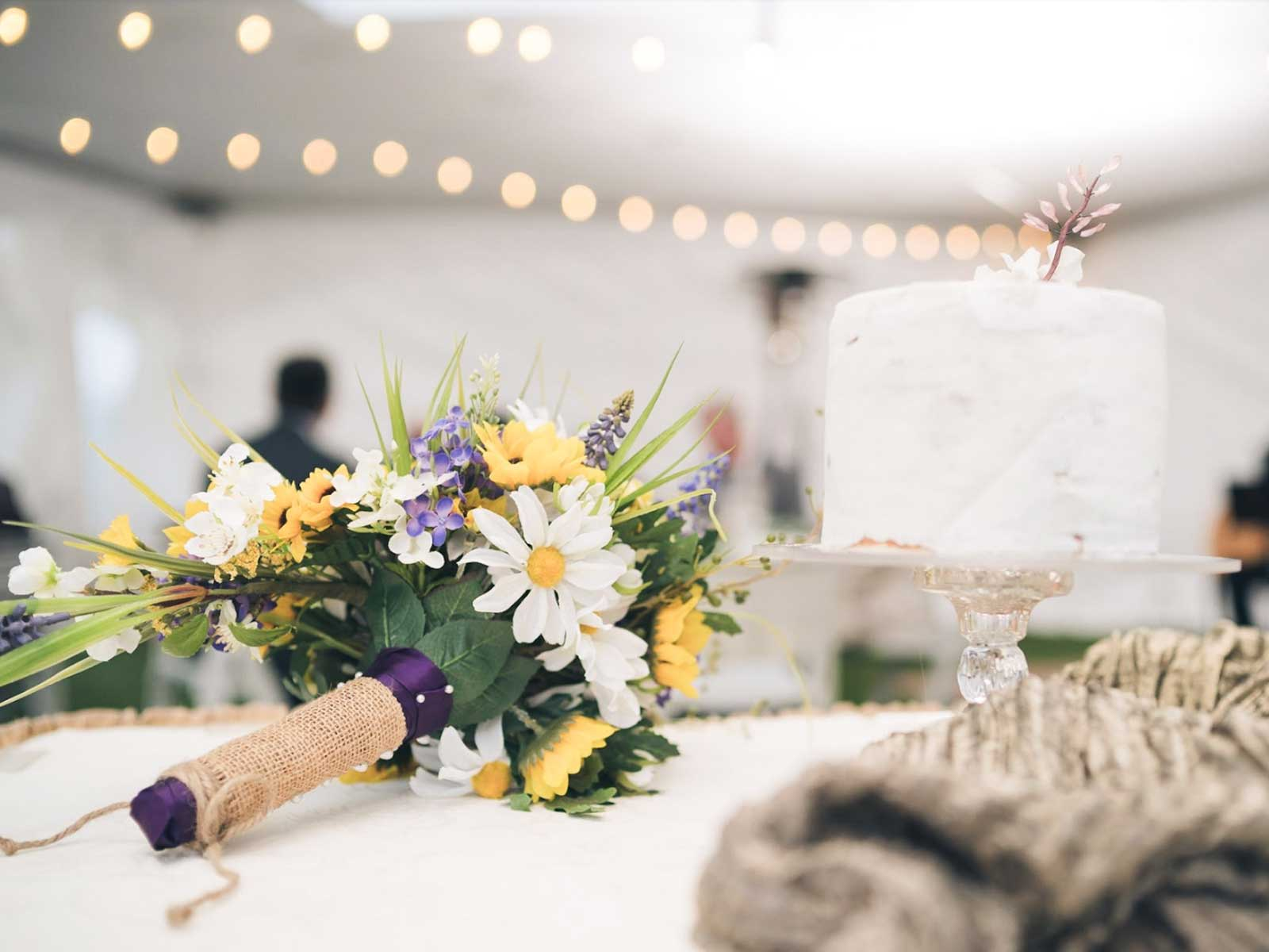 wedding flowers and cake