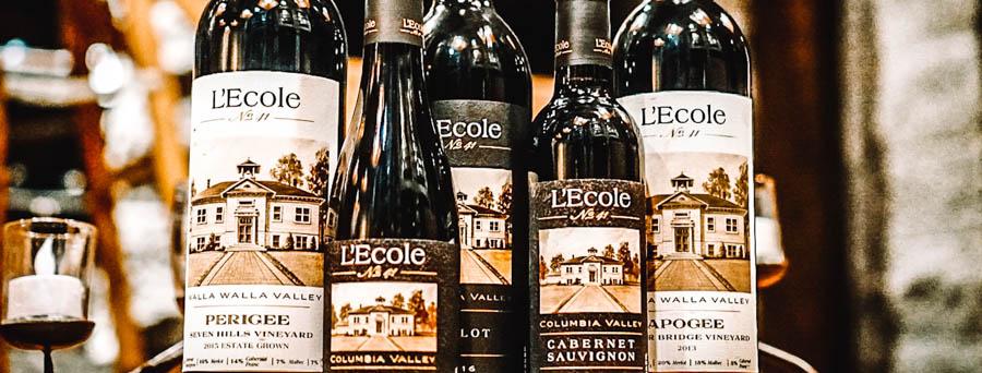 L'Ecole wine bottles