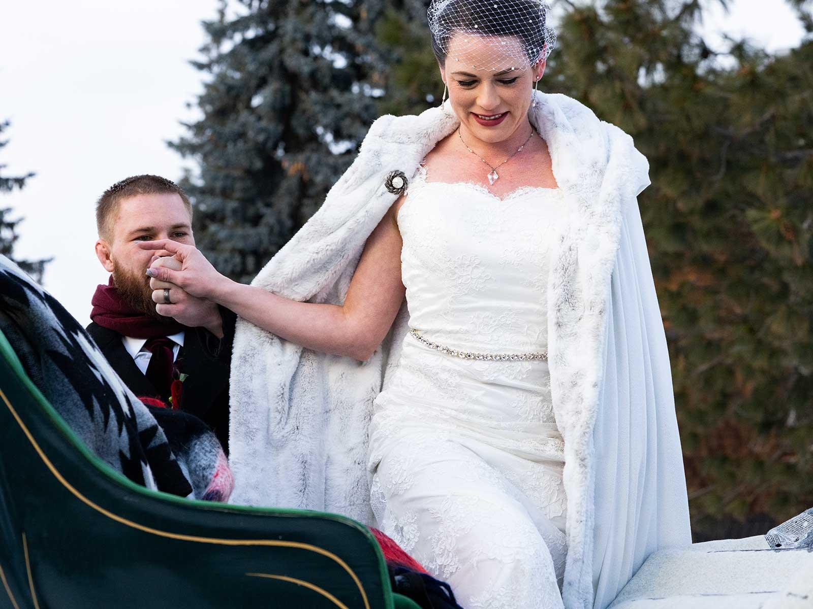 Allison Chris wedding sleigh