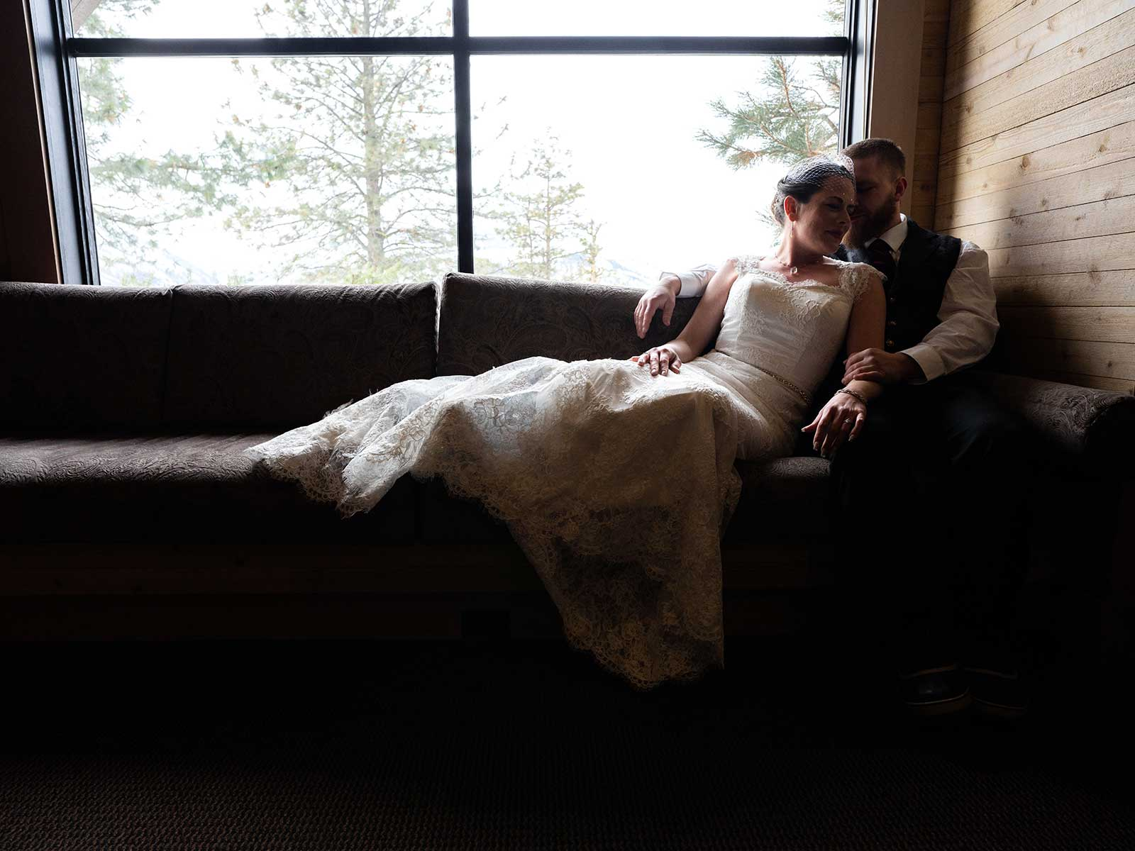 Allison Chris wedding library couch